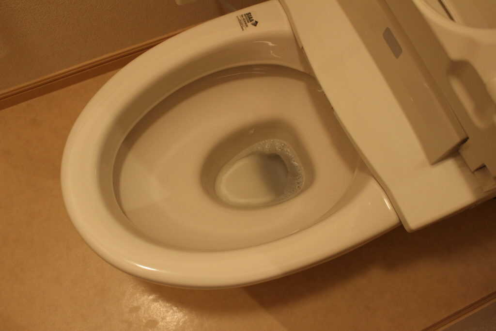 便座を上げた状態のトイレ