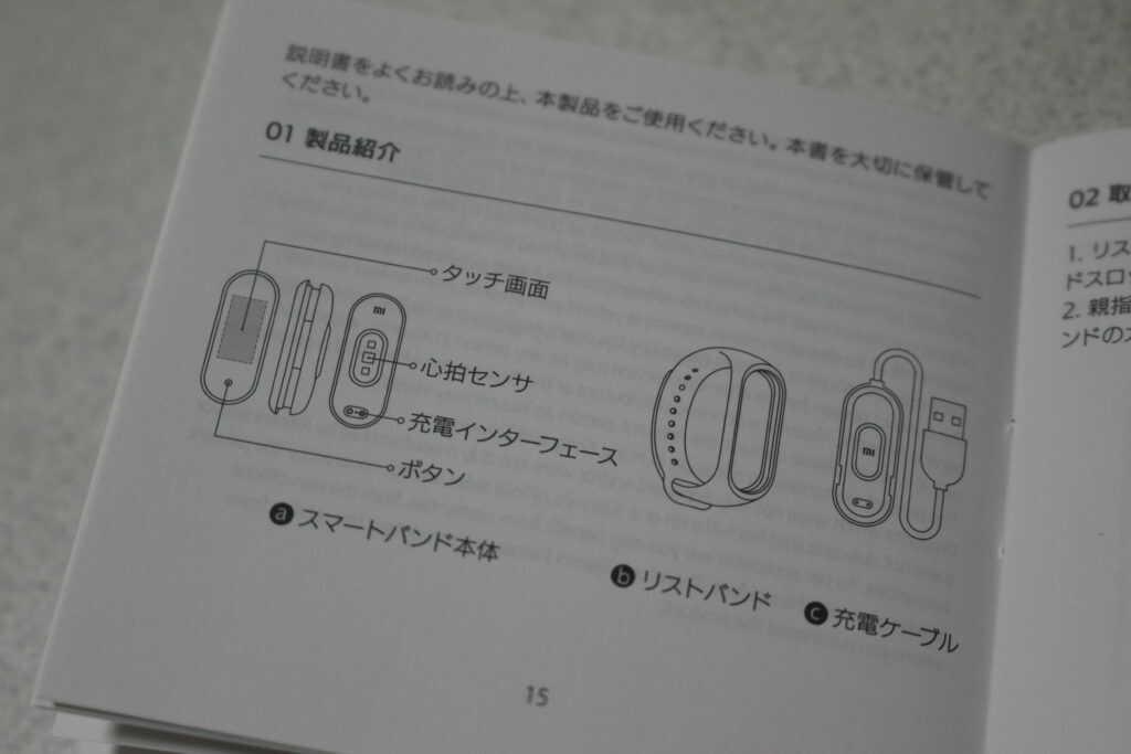 日本語と図が書かれた説明書
